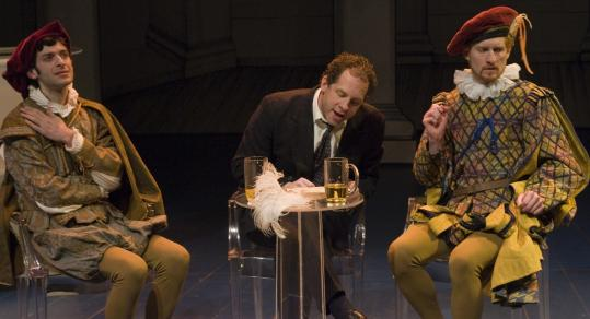 "Pictured, from left: Tony Larkin, Benjamin Evett, and Ed Hoopman star in the New Repertory production of ""Indulgences.''"