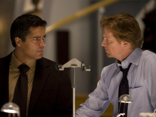 "From left: Esai Morales and Eric Stoltz star in ""Caprica.'' The ""Battlestar Galactica'' prequel series starts tonight at 9 on Syfy."
