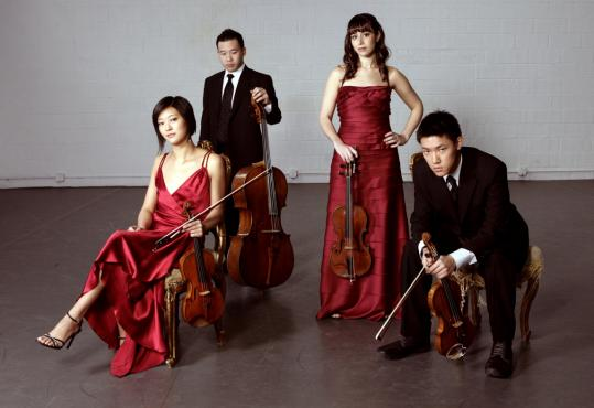 Pictured, from left: Karen Kim, Kee-Hyun Kim, Jessica Bodner, and Daniel Chong of the Parker Quartet.