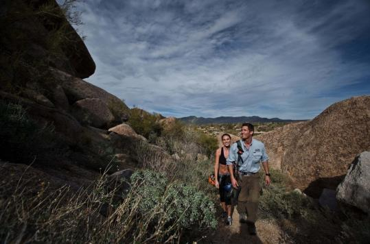 Guests at The Boulders, a resort in the red rocks of Carefree, Ariz., can hike, golf, or go to a spa.