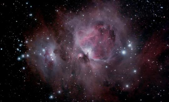 The Orion Nebula, in the middle of the sword of Orion, is one of the brightest nebulae visible to the naked eye and is the closest region of massive star formation to Earth.