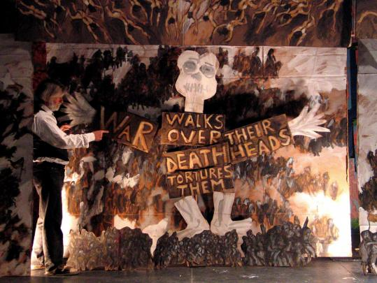 """JONATHAN SLAFF Peter Schumann narrates the prologue of the Bread & Puppet Theater's """"Tear Open the Door of Heaven.''"""