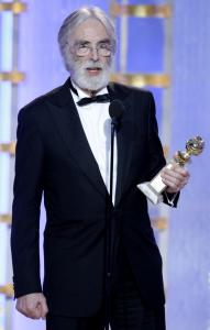 "Michael Haneke, director of ""The White Ribbon,'' at the Golden Globe Awards last Sunday."