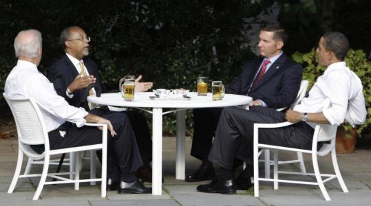 President Obama and Vice President Joseph Biden (left) shared beers with Harvard scholar Henry Louis Gates Jr. (second from left) and Sergeant James Crowley in July.
