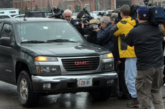Scott Brown's pick-up truck was surrounded by the media in Wrentham on Tuesday. 'I love this old truck. It's brought me closer to the people of this state,'' Brown said in an advertisement.