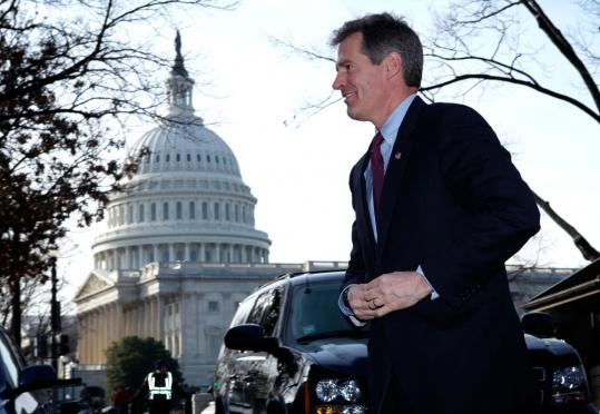 Senator-elect Scott Brown arrived on Capitol Hill yesterday for meetings with leaders of both parties.