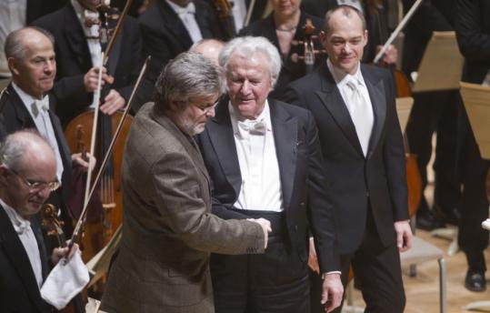 "Composer James MacMillan, conductor Sir Colin Davis, and baritone Christopher Maltman after ""St. John Passion'' was performed last night."
