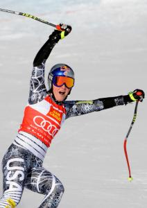 With Lindsey Vonn's win in the Super-G, she took the World Cup overall points lead.