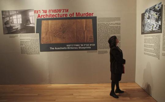 Blueprints of Auschwitz, the largest of the Nazi concentration camps, were displayed yesterday in Jerusalem.