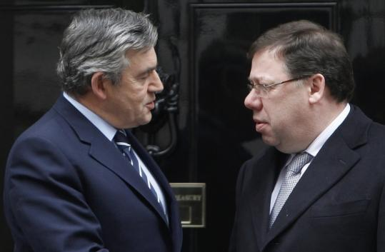 Britain&#8217;s Prime Minister Gordon Brown (left) greeted his Irish counterpart Brian Cowen yesterday in London.