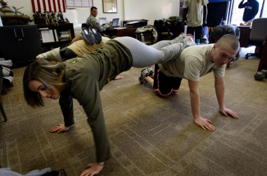 Nicole Feeney, 19, of Wilmington participated in future soldier training with Army recruit Peter Sarro, 19, of Billerica.