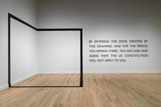 "ERIK GOULD Carey Young's ""Declared Void'' at RISD's Museum of Art invites visitors into an imaginary box where the text informs you that while you are there the ""US Constitution will not apply to you.''"