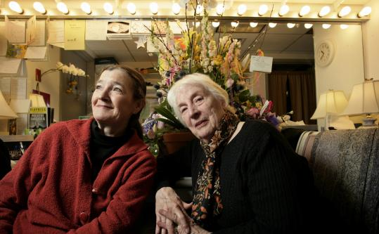 "Nancy E. Carroll (left) and Alice Duffy, who have both played Mrs. Shubert in Boston's ""Shear Madness,'' are on Broadway in ""Present Laughter.''"