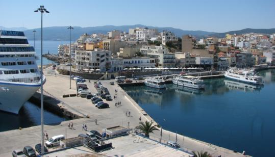 The port at Agios Nikolaos, Crete, from the ship's deck.