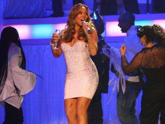 Champagne was on hand for Mariah Carey at the Citi Wang Theatre Saturday, as it was for her December show at Madison Square Garden (above) in New York.