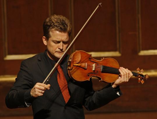 Violinist Christian Tetzlaff performing solo at Jordan Hall on Sunday.