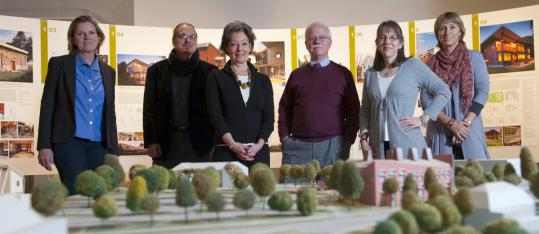 "Those involved in the ""Greening the Valley'' exhibit include (from left) architects Sigrid Miller Pollin and Joseph Krupczynski, University Gallery director Loretta Yarlow, architect Chris Riddle, and curators Meg Vickery and Eva Fierst."