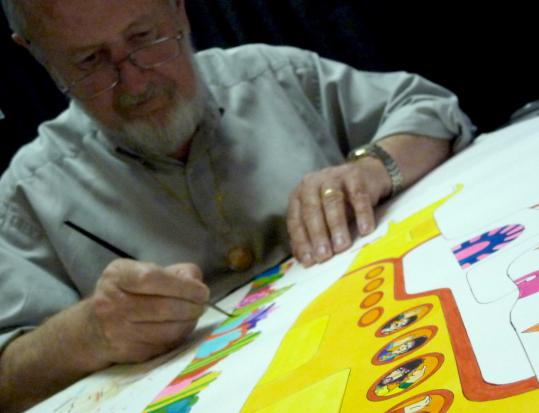 """Cartoon artist Ron Campbell worked on the Beatles movie """"Yellow Submarine.'' His artwork will be on display in the exhibit """"Revolution'' at Jordan's Furniture in Reading."""