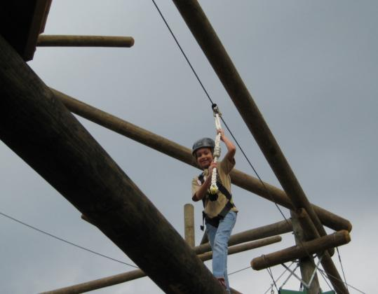 The zipline at Grande Lakes Adventure Course in Orlando.