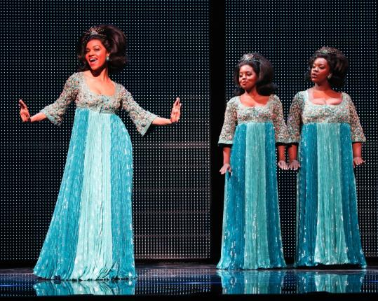 "From left: Syesha Mercado, Adrienne Warren, and Moya Angela as a more-or-less-fictional '60s girl group in ""Dreamgirls.''"