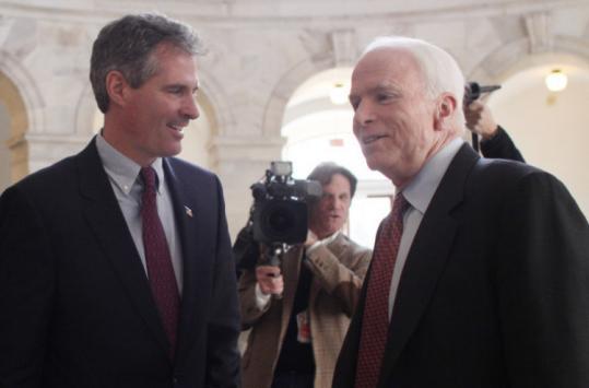 Senator Scott Brown, Republican of Massachusetts, recorded a robocall for Senator John McCain, Republican of Arizona.