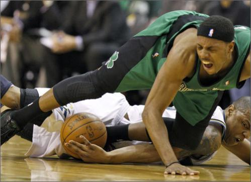 Pierce was one of several key Celtics players who had to deal with injuries in the 2009-10 season, including this nasty looking mid-foot sprain on February 1 against the Wizards. Pierce also missed time in late December with an infection in his knee.