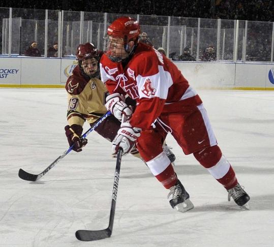 Sophomore defenseman David Warsofsky hit a home run at Fenway Park Jan. 8, scoring BU's first goal.