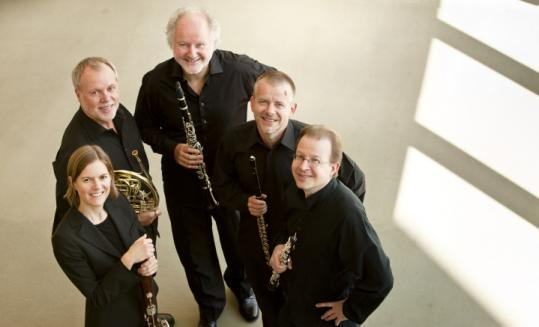 Berlin Philharmonic Wind Quintet, clockwise from left: Marion Reinhard, Fergus McWilliam, Walter Seyfarth, Michael Hasel, and Andreas Wittmann.