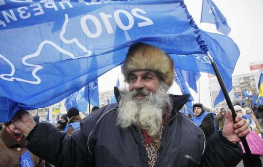 Pavel Lahno, 72, rallied for Viktor Yanukovych in front of the Central Election Commission in Kiev yesterday.