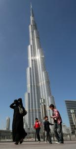 The 2,717-foot Burj Khalifa, world&#8217;s tallest skyscraper, juts like a needle out of the desert and can be seen from miles around.