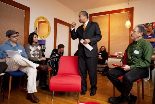 Governor Deval Patrick sought to energize supporters during a meeting at a Cambridge residence last week.