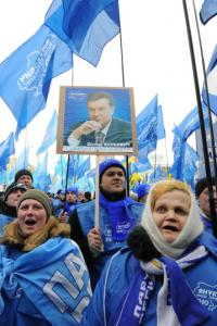 About 3,000 supporters of Viktor Yanukovych rallied yesterday to defend the election results.