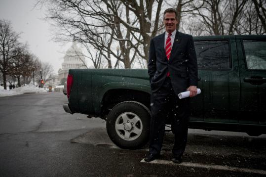 Republican Senator Scott Brown of Massachusetts posed with his trusty old pickup truck - one he drove from Boston to Washington on Sunday - before casting his first Senate vote yesterday.