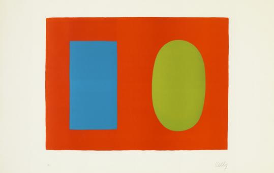 """""""Blue and Green Over Orange'' is one of two Ellsworth Kelly lithographs that open """"The Shape of Abstraction'' at the Boston University Art Gallery."""