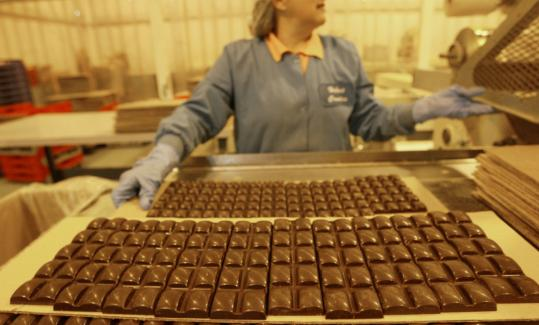 Dark chocolate bars by the bunch at Hebert Candy Mansion in Shrewsbury.