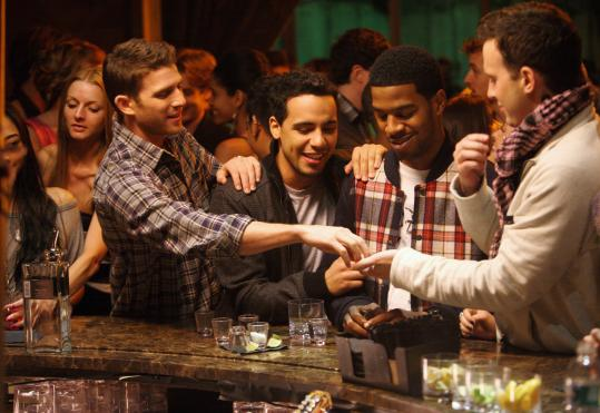 "From left: Bryan Greenberg, Victor Rasuk, Scott ""Kid Cudi'' Mescudi, and Eddie Kaye Thomas star in HBO's new series ""How to Make It in America.''"