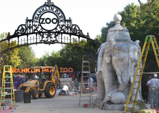 "The set of the movie ""ZooKeeper'' at the Franklin Park Zoo."