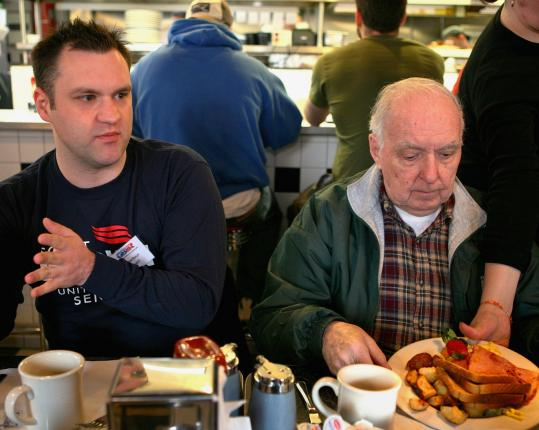 Republican Jason Healey (left), independent Fred Long, and others discussed politics over coffee and French toast at Mul's Diner in South Boston last week. Similar GOP efforts are underway elsewhere in the state.
