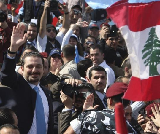 Prime Minister Saad al-Hariri of Lebanon joined supporters to mark the fifth year since his father&#8217;s assassination.