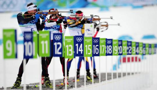 "Vincent Jay (No. 6), buoyed by a superb shooting performance, won gold in his Olympic debut. ""I love this place,'' he said."