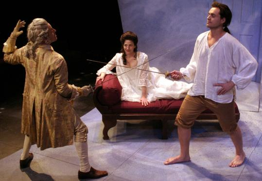 "Diego Arciniegas (left), Sarah Newhouse, and Jonathan Popp in Karen Zacarias's ""Legacy of Light,'' which is receiving its New England premiere at the Lyric Stage Company."