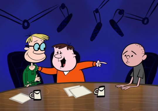 "On ""The Ricky Gervais Show,'' animated characters play (from left) Stephen Merchant, Gervais, and Karl Pilkington in an attempt to transform a podcast into a TV show."