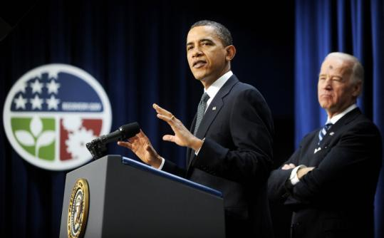 President Obama, with Vice President Joe Biden, yesterday defended the effectiveness of the stimulus measures.