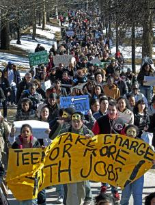 Organizers said 700 young people joined the march through Boston Common and the rally at the State House. The governor's office hopes federal aid will replenish some of the cut funds.