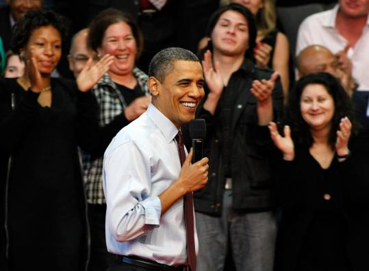 President Obama spoke at a town hall meeting yesterday in Henderson, Nev.