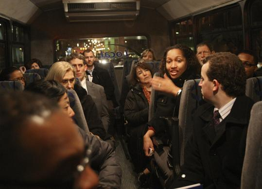 Mariama White-Hammond, of Project Hip Hop, held a rapt audience on the bus.