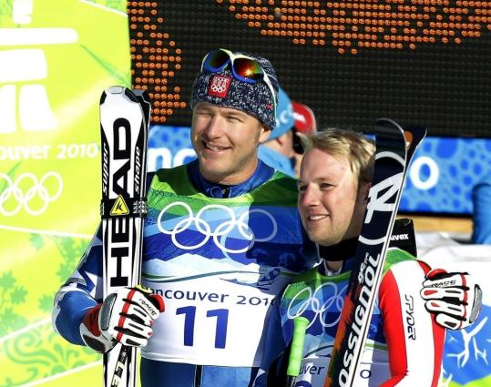 Bode Miller (left) and Andrew Weibrecht were close - just 0.03 seconds apart in the super-G.