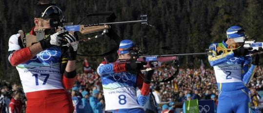 Evgeny Ustyugov (8) is the first Russian man to win biathlon gold since 1994 in Lillehammer.