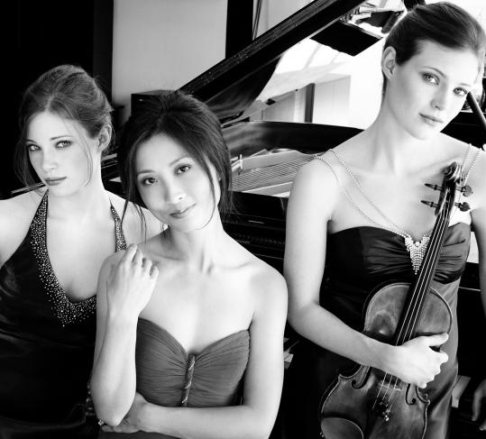The Claremont Trio: (from left) cellist Julia Bruskin, pianist Donna Kwong, and violinist Emily Bruskin.