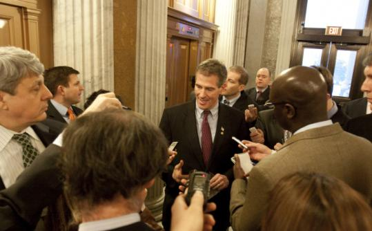 Senator Scott Brown, Republican of Massachusetts, spoke with reporters yesterday after he voted to end debate on a jobs bill.